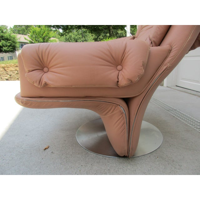 Metal Mid-Century Modern Swivel Lounge Chairs on Unique Cantilever Base -A Pair For Sale - Image 7 of 13