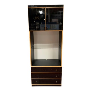 1970s Maple and Black Laminate Storage Cabinet For Sale