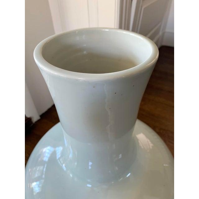 Massive Chinese Celadon Long Neck Vase For Sale - Image 4 of 8