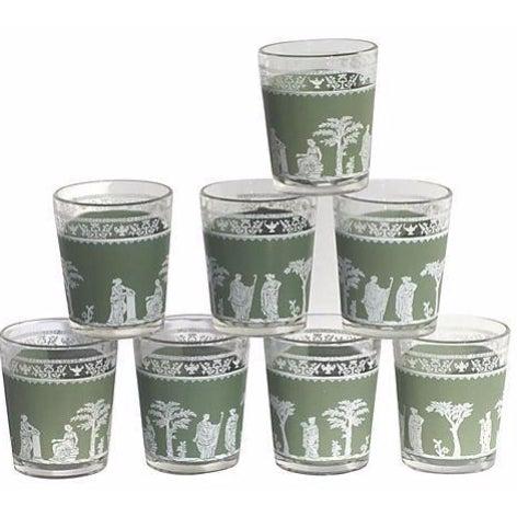 Wedgwood-Style Green & White Glasses - Set of 8 - Image 1 of 3