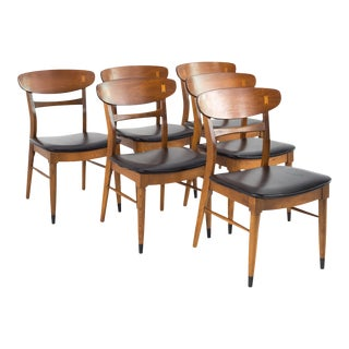 1960s Mid Century Modern Lane Acclaim Walnut and Vinyl Dining Chairs - Set of 6 For Sale