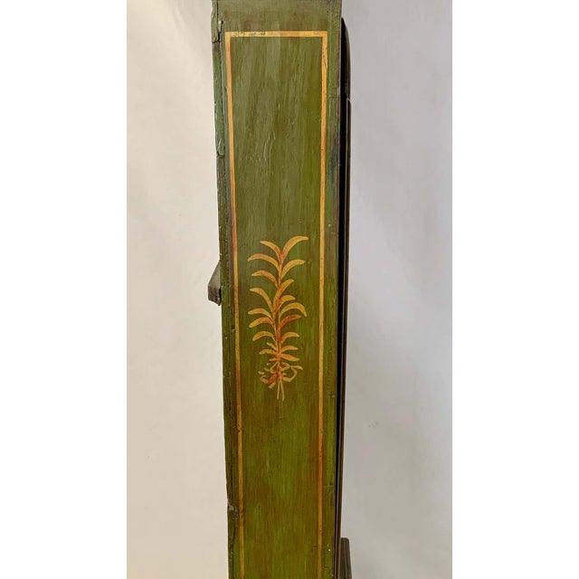Green George III Chinoiserie Decorated Long Case Clock For Sale - Image 8 of 13