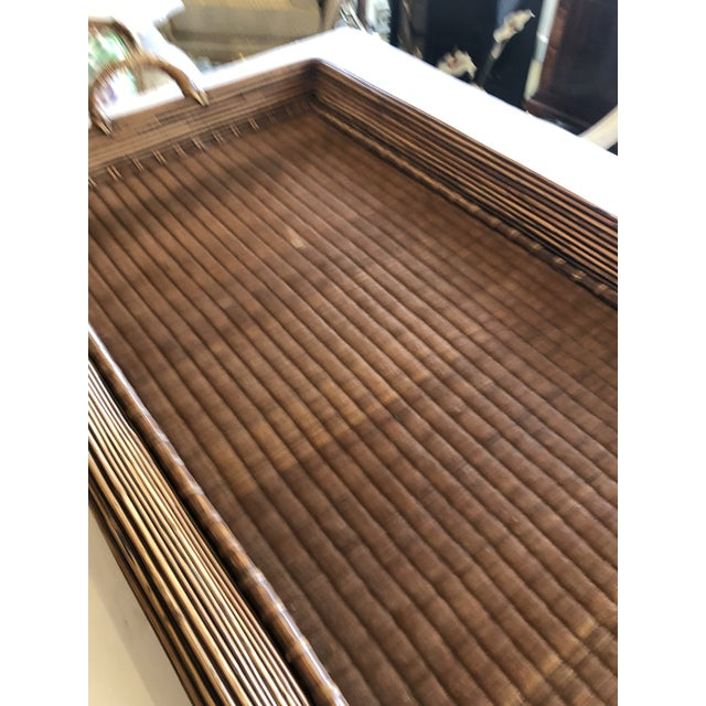 Wicker Wood Wicker Rattan and Seagrass Handled Gallery Tray For Sale - Image 7 of 11