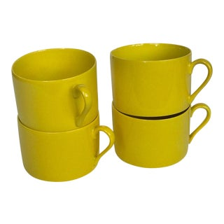 "Vintage Fitz and Floyd, Inc. ""Total Color"" Yellow Coffee Cups - Set of 4 For Sale"