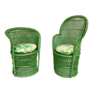 Pair of Green Rattan Chairs For Sale