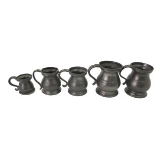 Early 1800's Tavern Tankards, Pewter, William IV & Victorian - Set of 5 For Sale