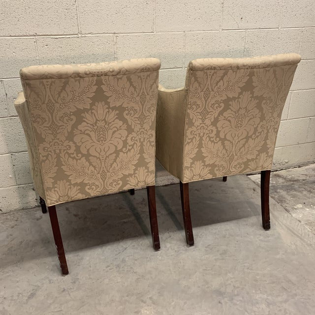 Yellow Southwood Sheraton Style Inlaid Mahogany Club Chairs For Sale - Image 8 of 12