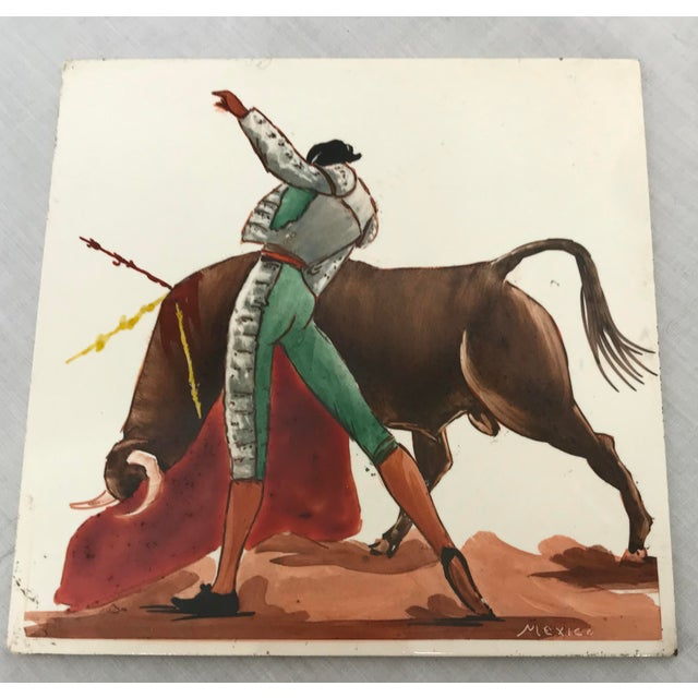 Mexican Mid 20th Century Torero & Bull Ceramic Tiles - Set of 6 For Sale - Image 3 of 8