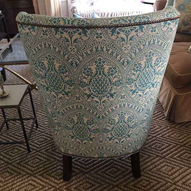 Contemporary Modern Wingback Chair Quadrille China Seas For Sale - Image 3 of 8