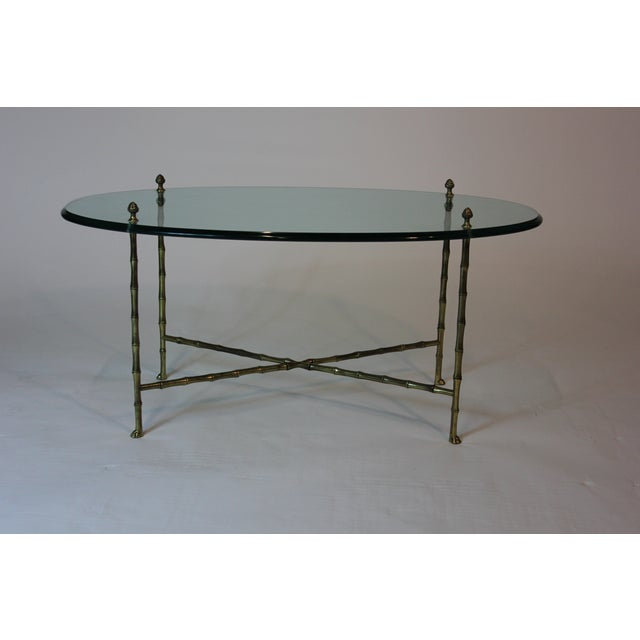 Maison Jansen Oval Glass and Faux Bamboo Brass Coffee Table For Sale - Image 5 of 5
