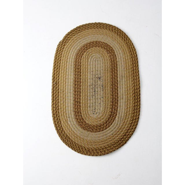 White Vintage Braided Wool Accent Rug For Sale - Image 8 of 8