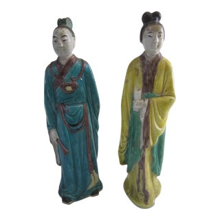 1930s Chinese Republic Period Export Immortal Figures - a Pair For Sale