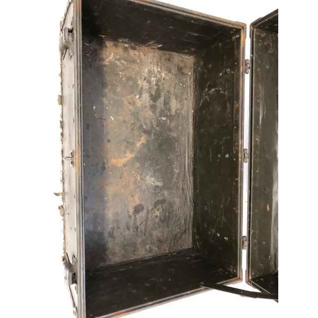 Green Vintage Industrial Green Military Foot Locker Trunk For Sale - Image 8 of 13
