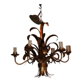 1940s Vintage Maison Baguès Hollywood Regency Sheaf of Palm Chandelier / Dore/ Gilt Metal For Sale