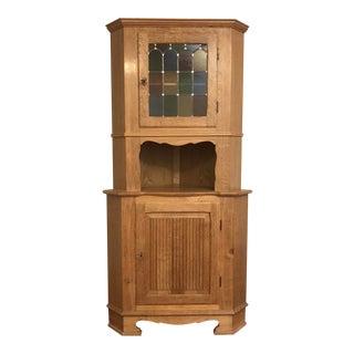 Danish Farmhouse Oak Corner Cabinet
