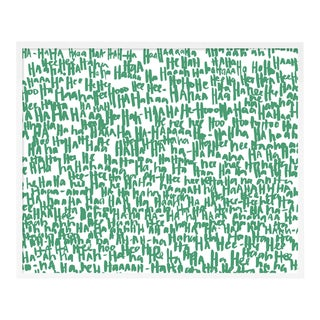 Haha Green by Kate Roebuck in White Framed Paper, XS Art Print For Sale