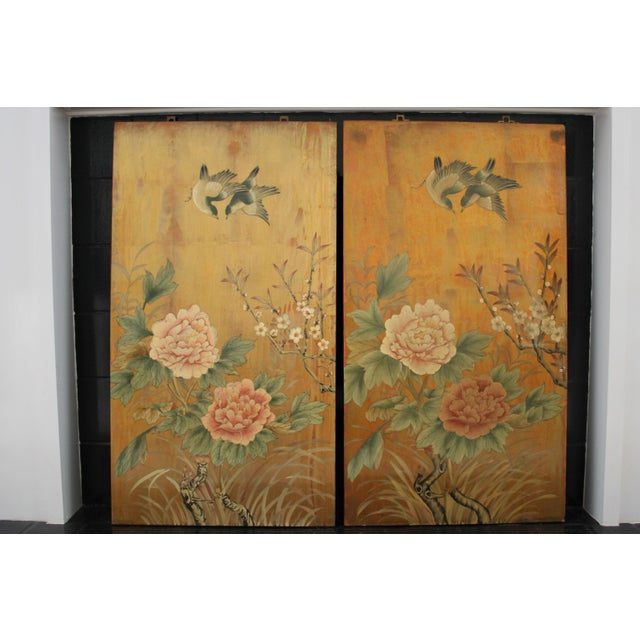 Asian Vintage Decorative Chinese Chinoiserie Wall Panels, a Pair For Sale - Image 3 of 13