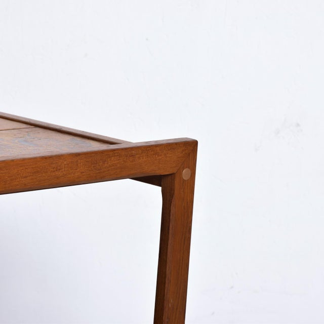 Danish Modern Mid-Century Danish Modern Teak and Tiles Service Table Bakery Bar Trolley For Sale - Image 3 of 12