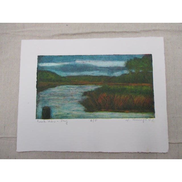 Vintage Color Lithograph Titled: Creek Views Signed by the Artist For Sale In Miami - Image 6 of 6