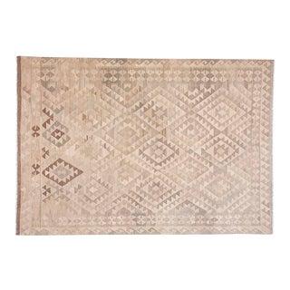 Handwoven Geometric Kilim Wool Rug - 6′9″ × 9′10″ For Sale