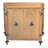 Image of 1940s French Sycamore 2-Door Cabinet With Pewter Mounts For Sale