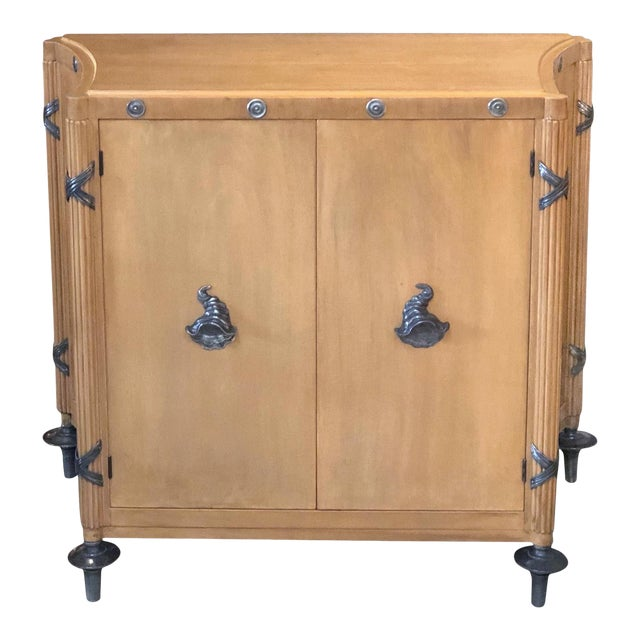 1940s French Sycamore 2-Door Cabinet With Pewter Mounts For Sale
