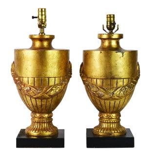 Louis XVI Carved Giltwood Urns With Garlands Table Lamps - a Pair For Sale