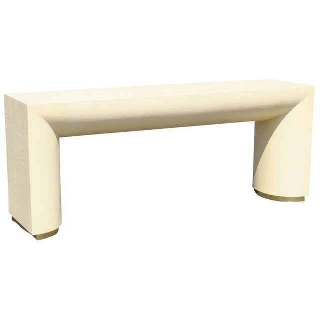Mid Century Modern Cream Lacquered Canvas and Brass Console Table For Sale In Philadelphia - Image 6 of 6