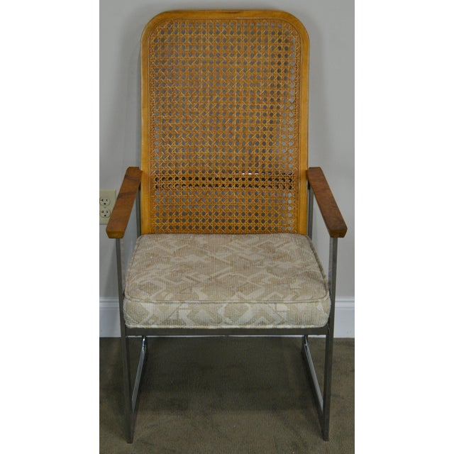 Lane Furniture Milo Baughman for Lane Mid Century Modern Set 6 Cane Back Chrome Dining Chairs For Sale - Image 4 of 12