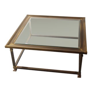 Mastercraft Brass Glass Picture Frame Coffee Table For Sale