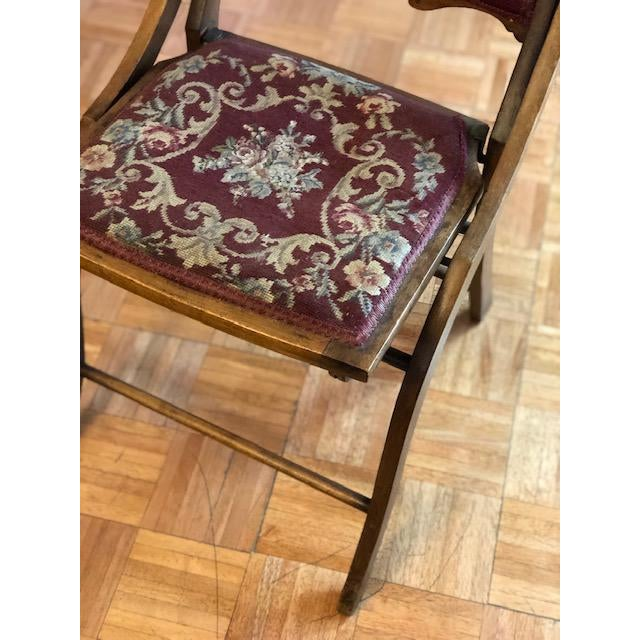 1900 - 1909 1900s Antique Victorian Tapestry Folding Chair For Sale - Image 5 of 13