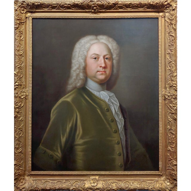 Portrait of an English Aristocrat in a green coat-18th century Oil painting possibly by Thomas Hudson . Oil painting on...