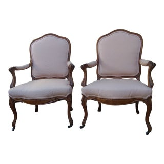 Early 20th Century French Vintage Hand-Carved Wood and Upholstered Armchairs - a Pair For Sale