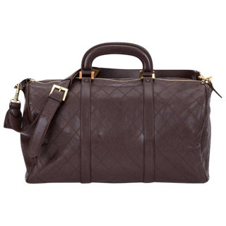 Chanel Vintage Brown Diamond Quilted Duffle Bag, 1980s For Sale