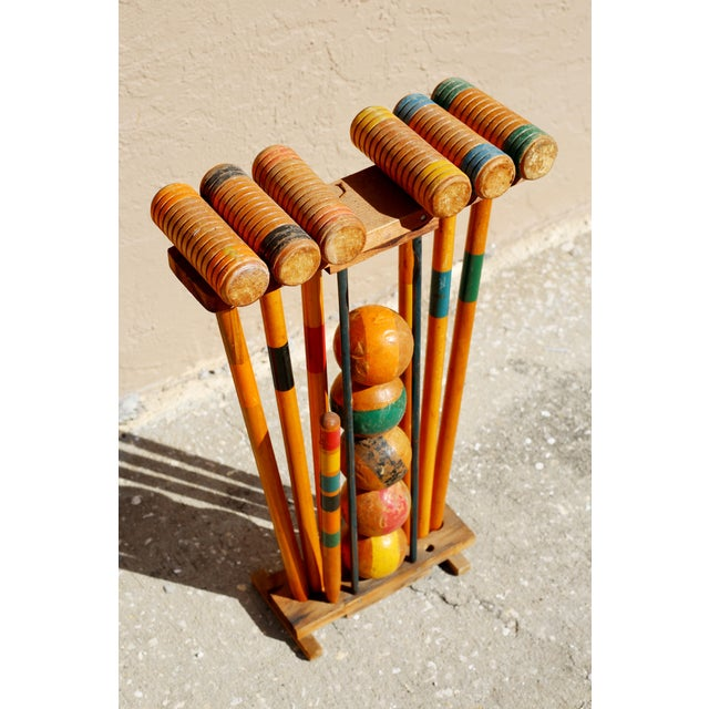 Vintage Wooden Croquet Set With Rack For Sale - Image 4 of 8