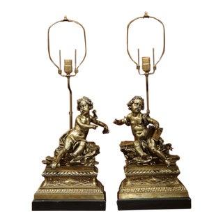 French Bronze Cherubs Lamps - A Pair