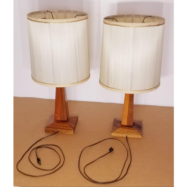 Mid-Century Modern Mid-Century Teak Table Lamps With Original Shades - a Pair For Sale - Image 3 of 9