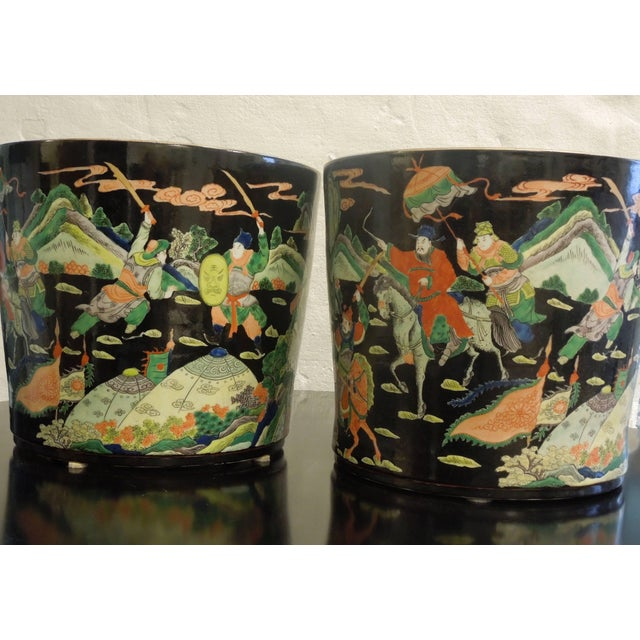 Mid 20th Century Amazing Rare Pair of Large Chinese Warrior Planters For Sale - Image 5 of 7