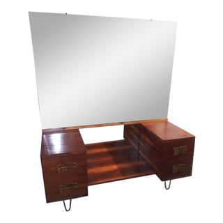 Mid Century Walnut Vanity With Hairpin Legs and Mirror For Sale