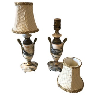 Truly Elegant Antique Carrara Marble and Bronze Pair of Small Table Lamps For Sale