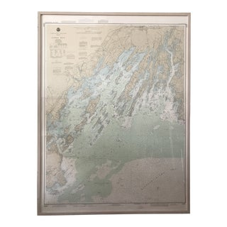 Vintage Casco Bay Maine Framed Map For Sale