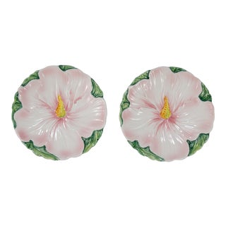 Vintage Italian Majolica Pink Floral Plates - a Pair For Sale