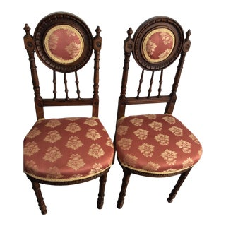 French Louis XVI Maghoney Walnut Chairs- A Pair For Sale