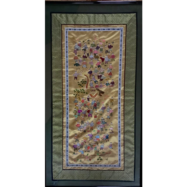 Asian Mid-Century Chinese Silk Embroidered Tapestry For Sale - Image 3 of 5