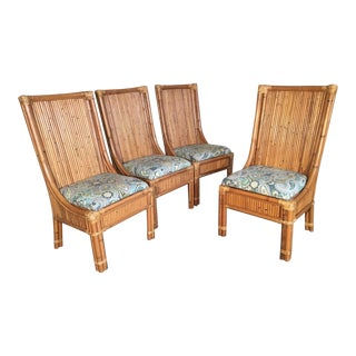 Set of Four Stacked Rattan High Back Dining Chairs For Sale