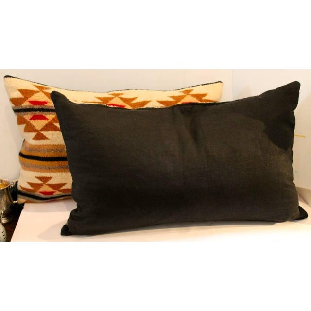 American Pair of Navajo Indian Weaving Bolster Pillows For Sale - Image 3 of 5