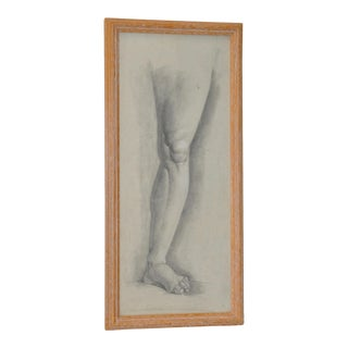 1960's Vintage Graphite Study of a Leg & Foot For Sale