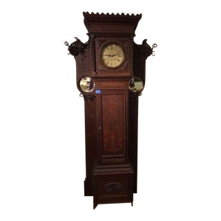 Late 19th Century Antique Oak Grandfather Clock/Hall Tree