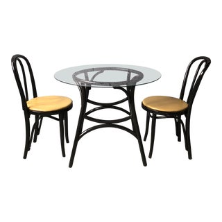 Thonet Chairs and Rattan Table With Glass Top - Set of 3 For Sale