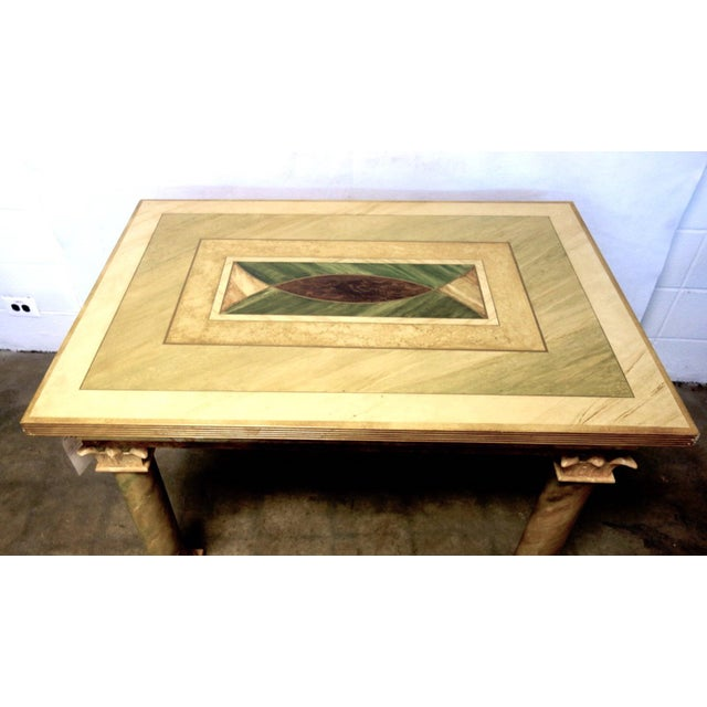 Elegant, trompe l'oeil faux marble hand painted custom made table purchased from the studio of John Saladino, probably in...